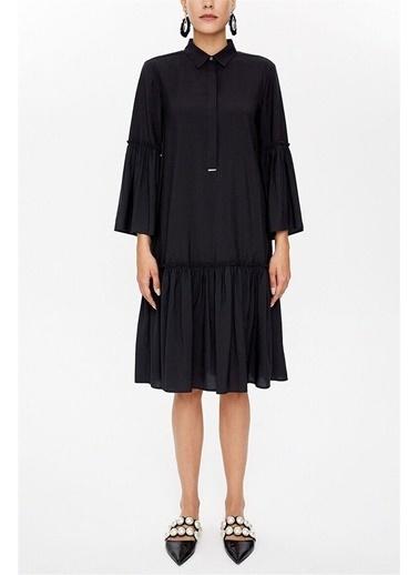 Societa Önden Düğmeli Büzgülü Elbise 92495 Siyah